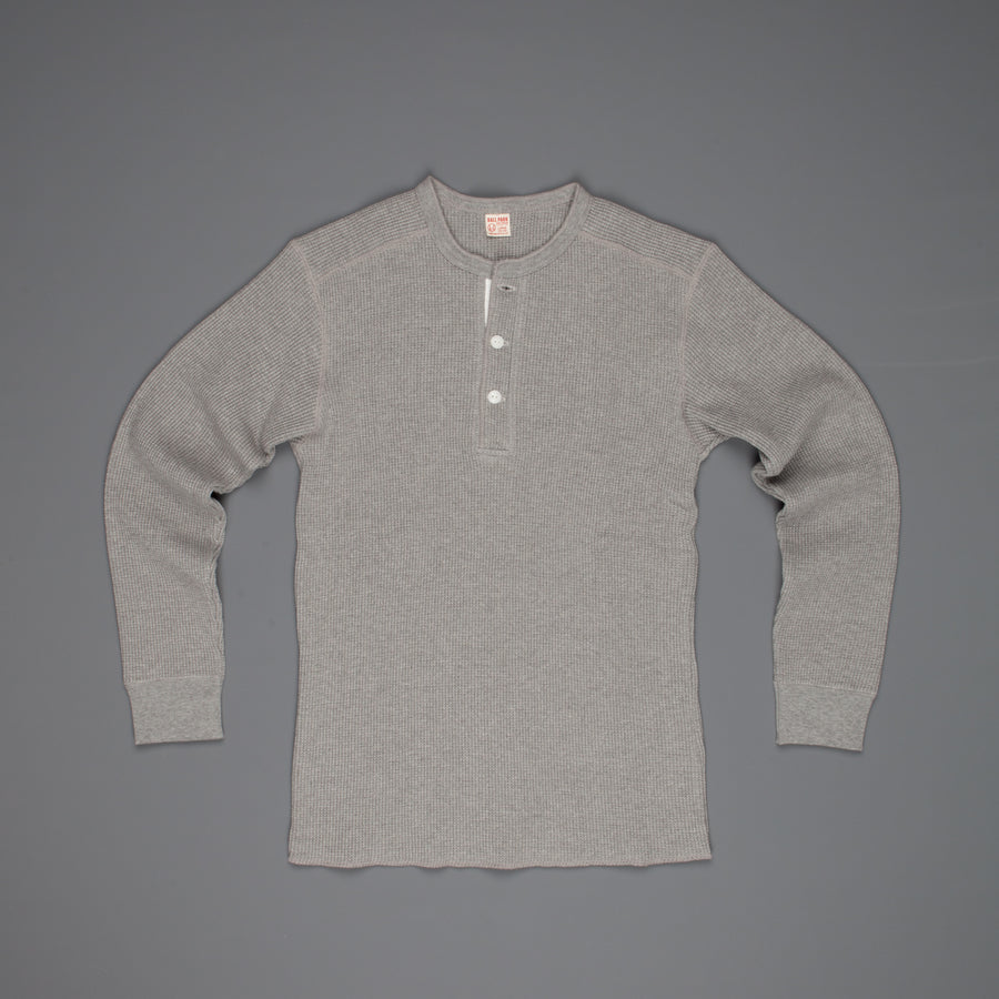 The Real McCoy's Joe McCoy Waffle Henley Longsleeve Gray