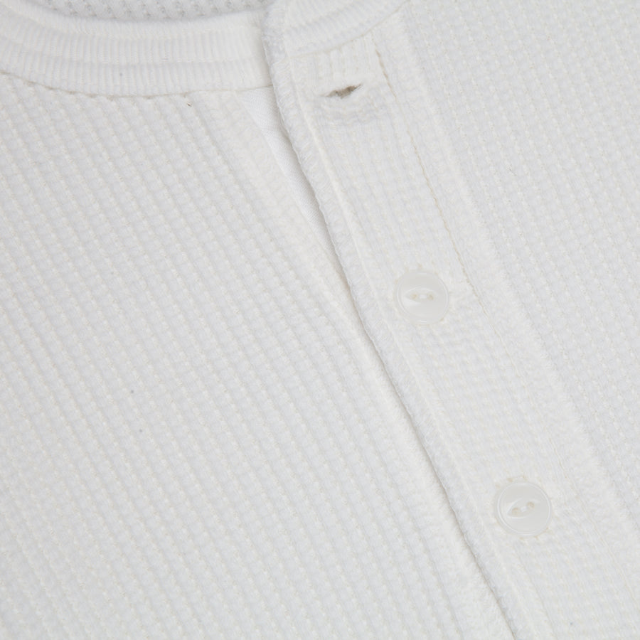 The Real McCoy's Joe McCoy Waffle Henley Longsleeve white