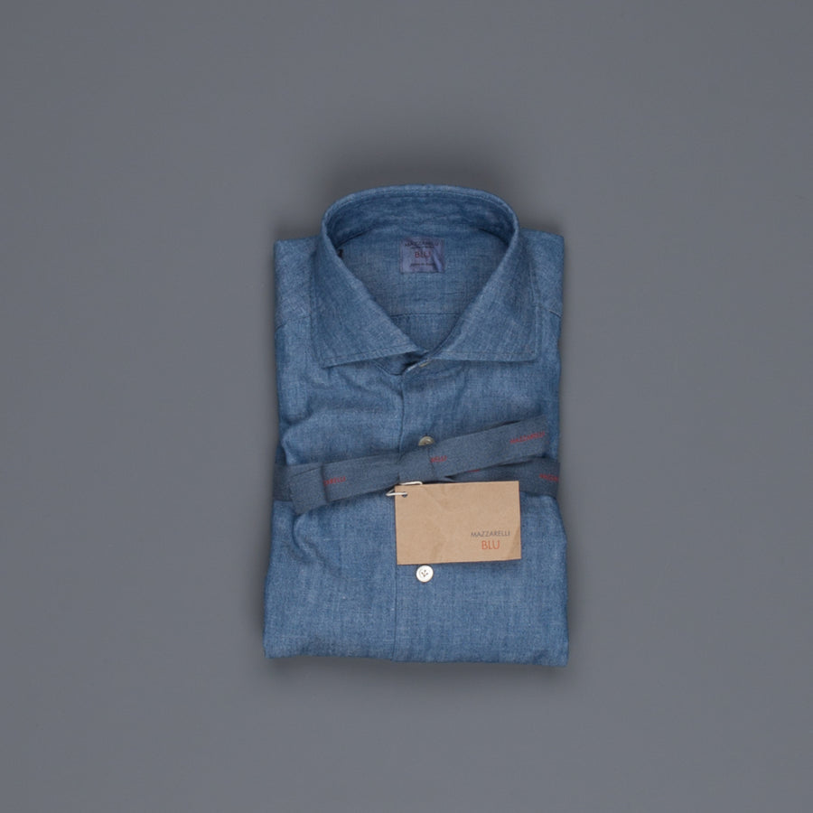 Mazzarelli x Frans Boone chambray shirt blue