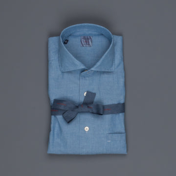 Mazzarelli x Frans Boone soft chambray shirt blue