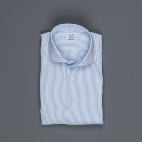 Mazzarelli x Frans Boone basket weave shirt blue stripe