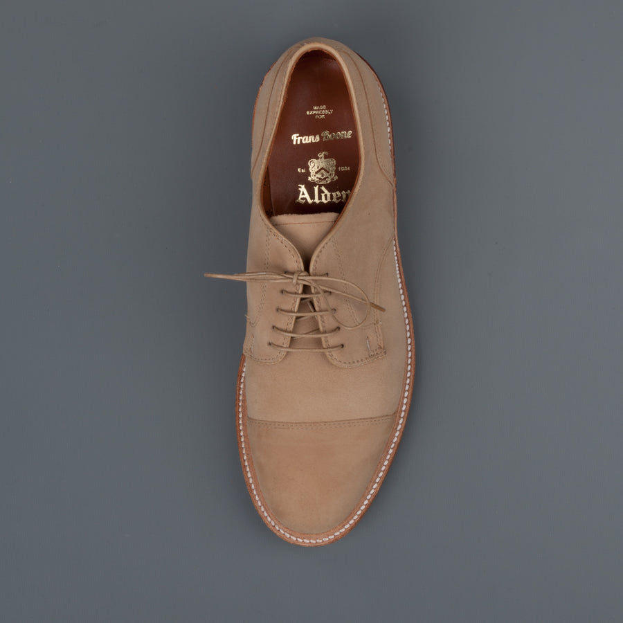 Alden x Frans Boone exclusive tan suede cap toe blucher