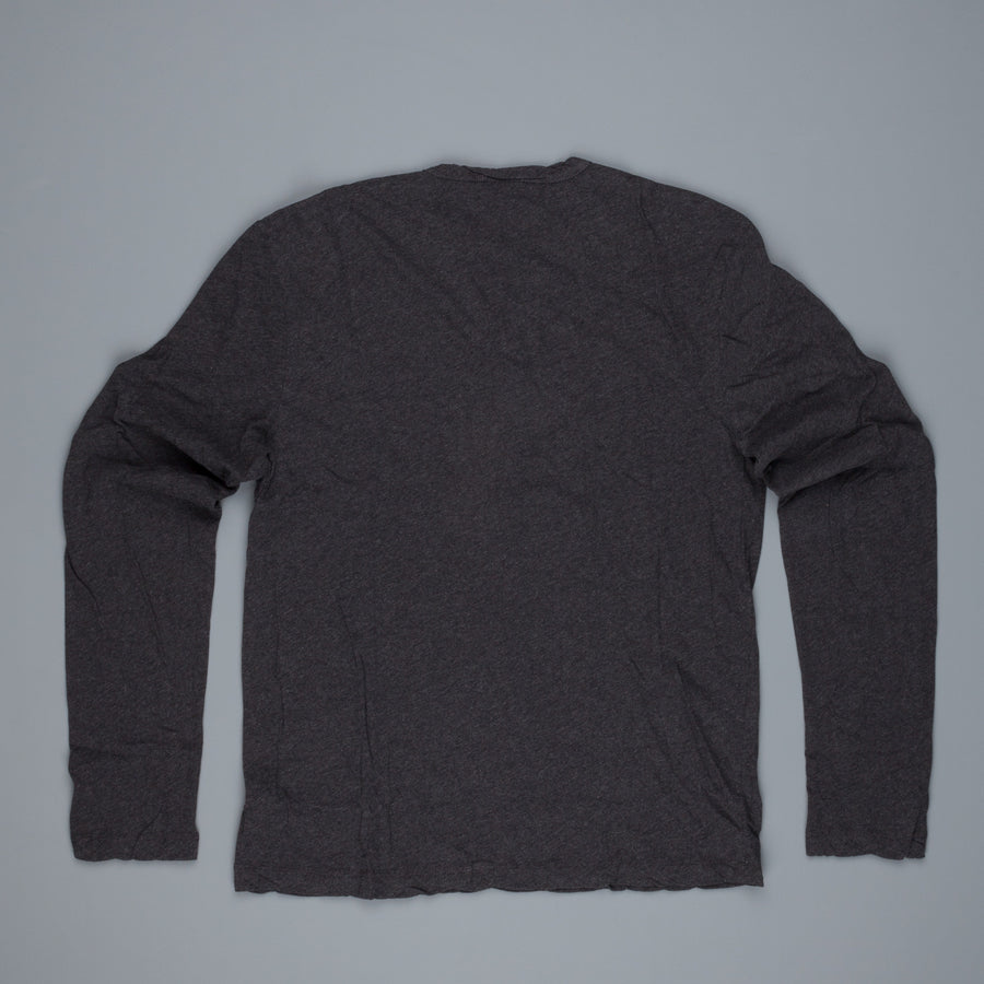 James Perse Refined melange V neck Henley heather Charcoal