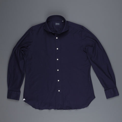 Finamore Ottawa Shirt Sergio Collar Stretch Piquet Navy