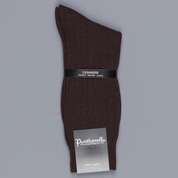 Pantherella Cashmere Waddington ribbed socks in Chocolate