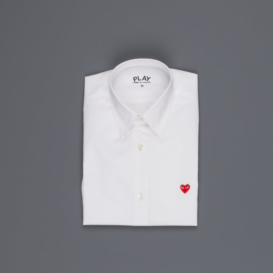 Women Play Comme des Garçons white shirt small red heart