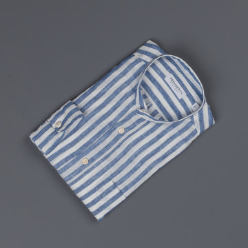 President's Shirt Taegu Washed Linen Big Stripe sky blue