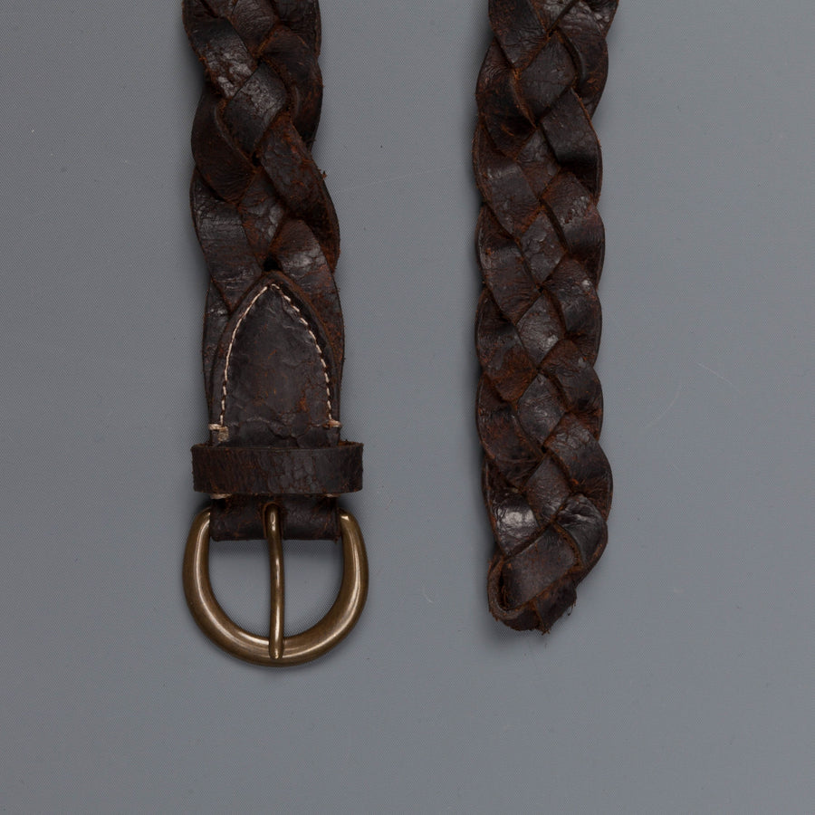 RRL Belt Hand Braided Terrance Tumbled Leather