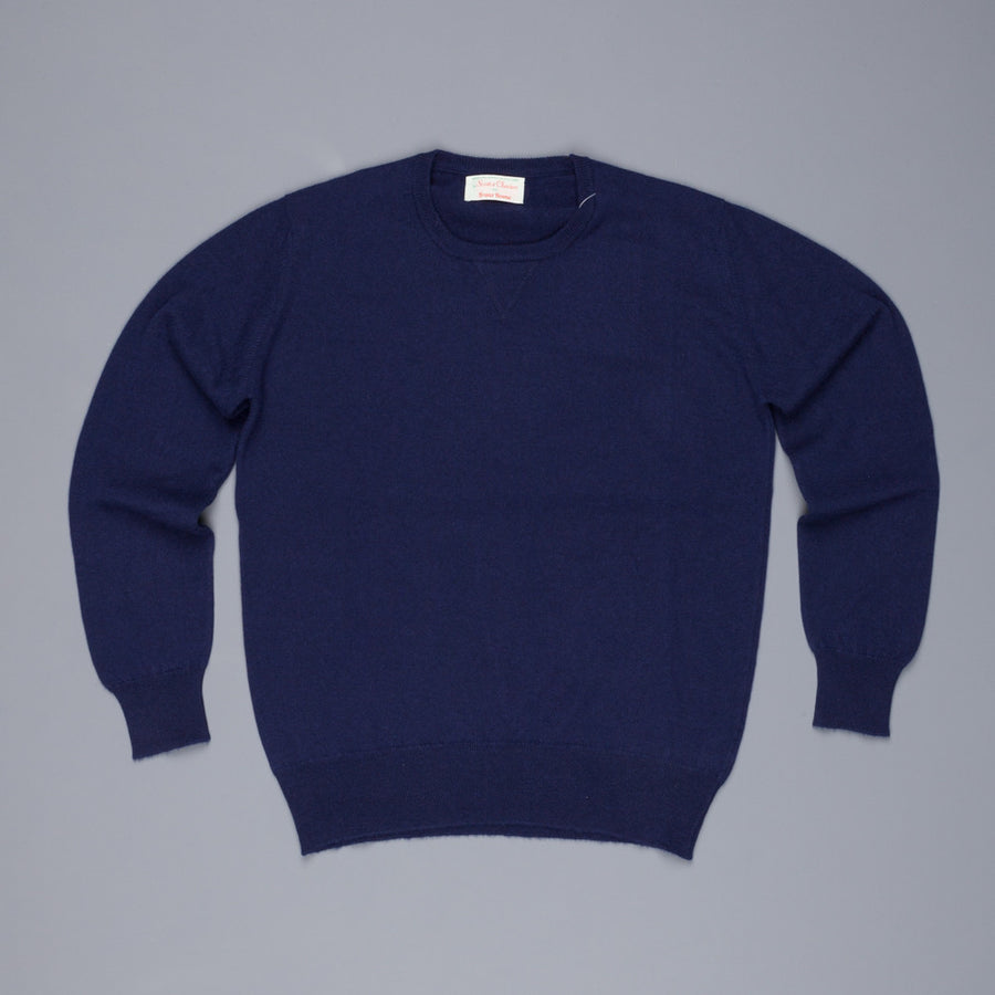 Scott and Charters x Frans Boone crew neck cashmere cotton American navy