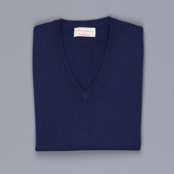 Scott and Charters x Frans Boone V-neck cashmere cotton American navy
