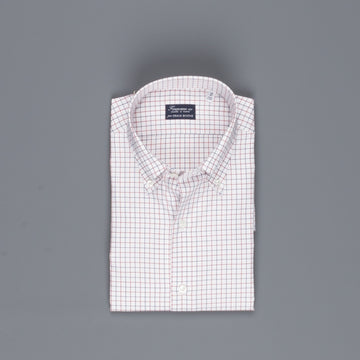 Finamore Napoli shirt Collar Lucio Tattersall check navy/bordeaux