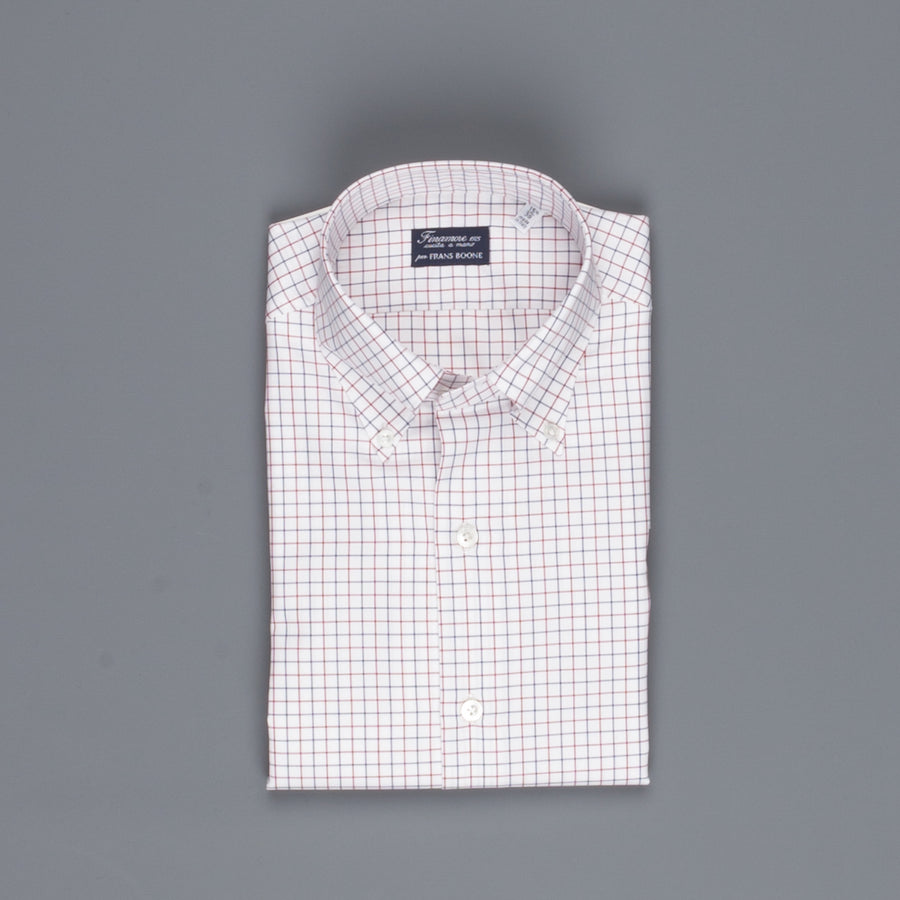 Finamore Milano shirt Collar Lucio Tattersall check navy/bordeaux