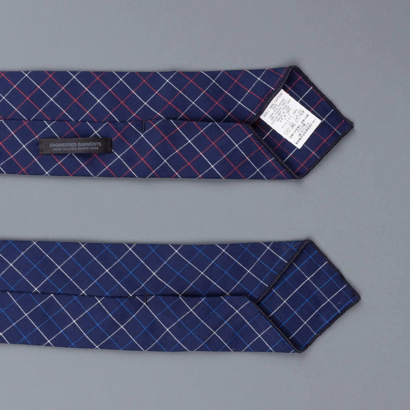 Engineered Garments Combo Neck tie navy red tattersall