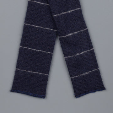 Engineered Garments Cahmere knit tie navy stripe