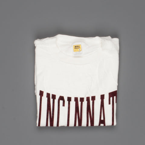 "Velva Sheen SS Crew Neck ""Cincinnati"" Print in White"