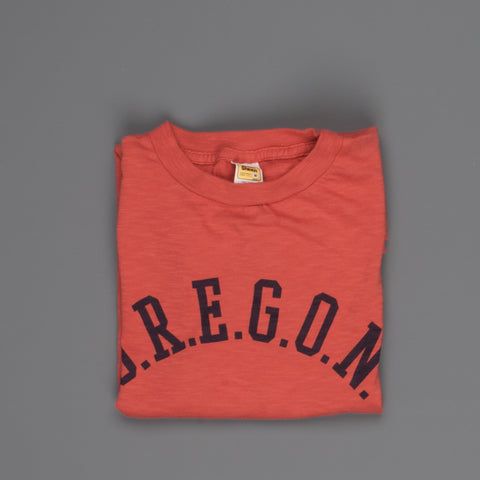 "Velva Sheen SS Crew Neck ""O.R.E.G.O.N."" Print in Red"