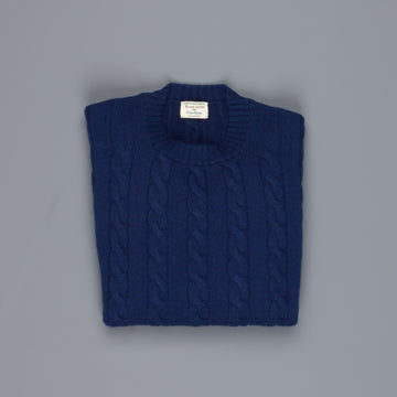William Lockie Chirnside Cashmere Cable Crew Neck Inchiostro