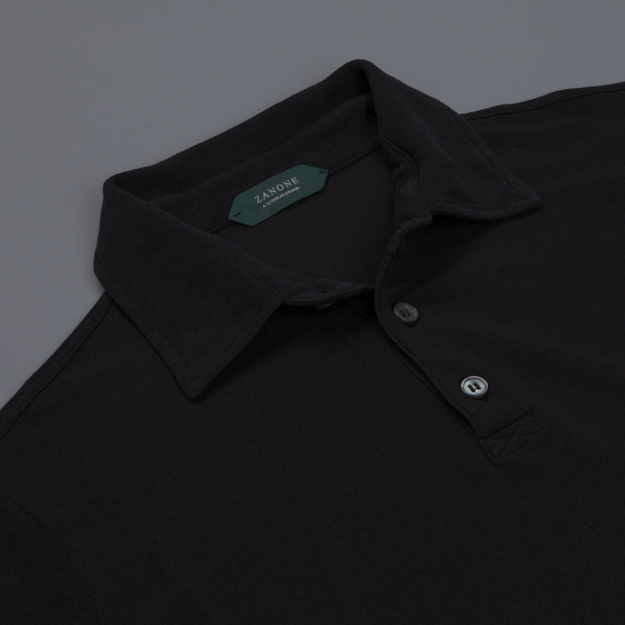 Zanone ML Polo Ice Piquet Nero Frans Boone Store Exclusive