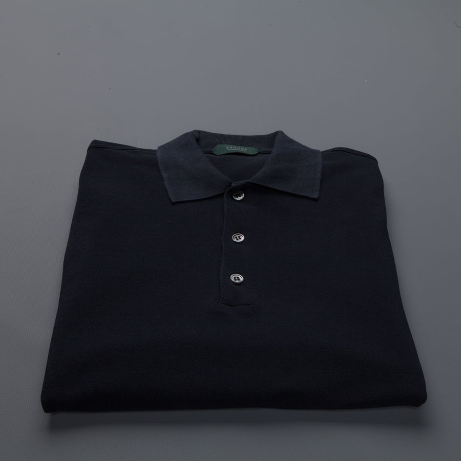 Zanone Polo Coste Ice Piquet Blu Scuro