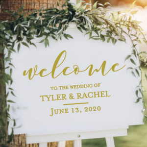 """Welcome to our wedding"" Decal for sign"