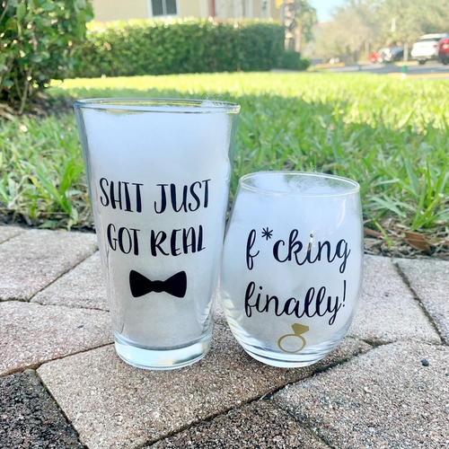 Funny Engagement Glass Set