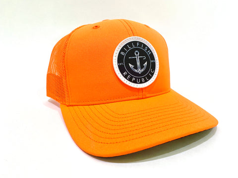 Circle Compass Patch | Safety Orange Trucker