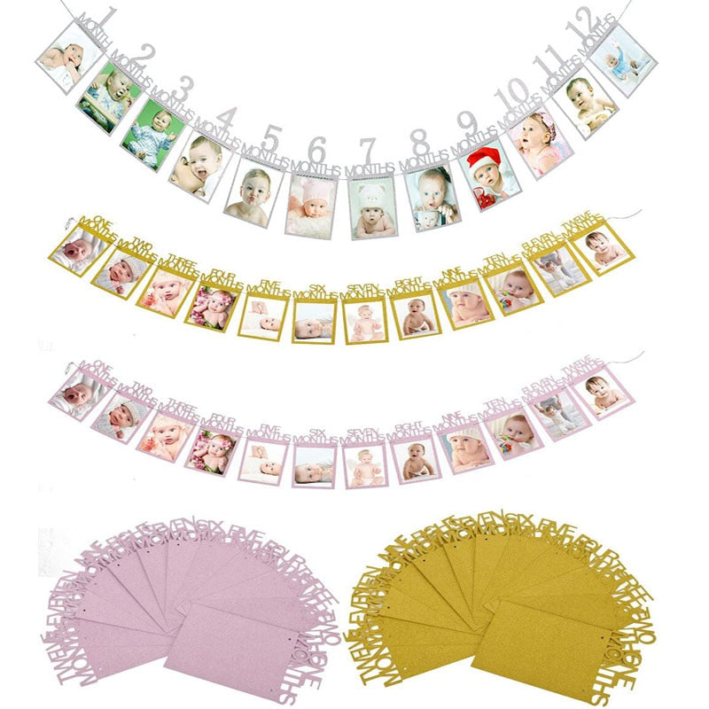 Cute Baby Shower Photo Bunting Banner 1St One Year Old Birthday Party Decoration