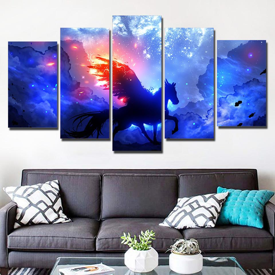 ArtSailing 5 panel HD canvas wall art Unicorn Painting wall pictures for living room posters 2018 new drop shipping NY-7522B Tableau je-suis-une-licorne.com