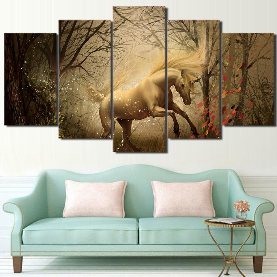 ArtSailing HD print 5 piece canvas art Abstract White Horse Unicorn modern dimage paintings for living room Posters ny-6738B Tableau je-suis-une-licorne.com