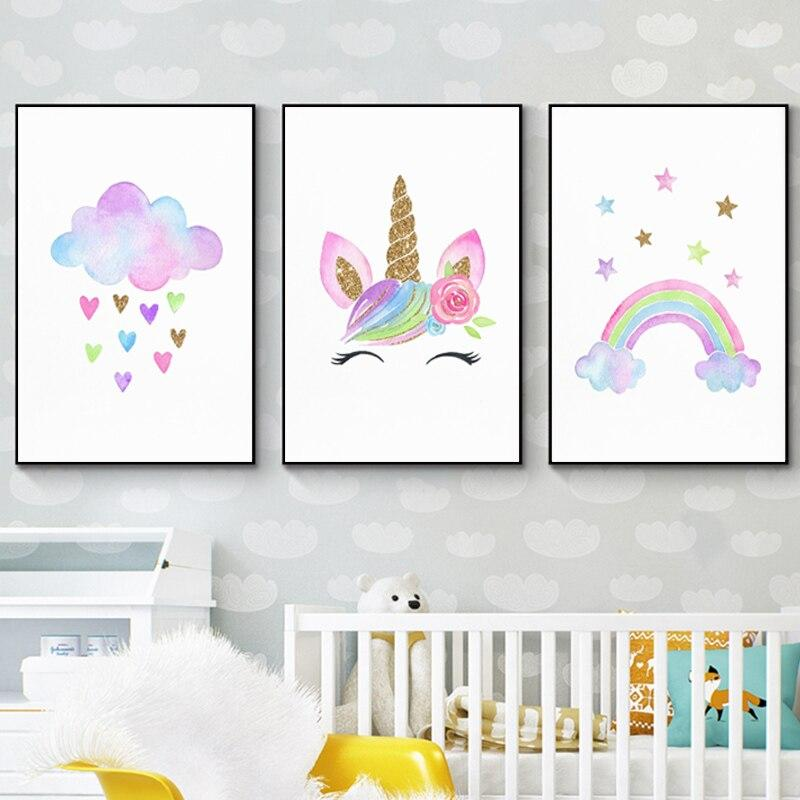 Baby Girl Nursery Wall Art Canvas Poster Print Cloud with Heats Painting Rainbow Unicorn Picture Nordic Kids Room Decoration Tableau je-suis-une-licorne.com