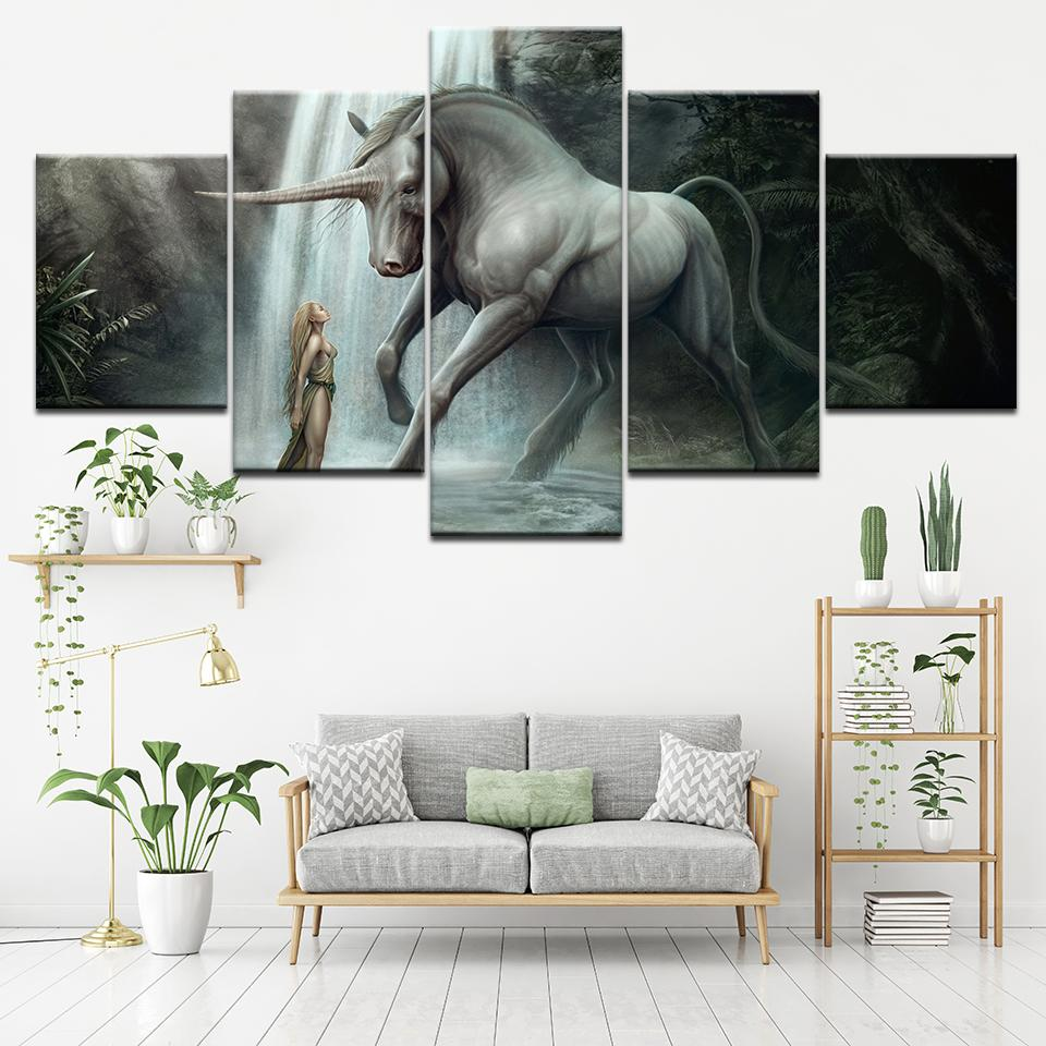 Canvas Poster Living Room Home Decor Wall Art 5 Piece beauty and Unicorn Horse Paintings HD Prints Abstract Pictures Framework Tableau je-suis-une-licorne.com