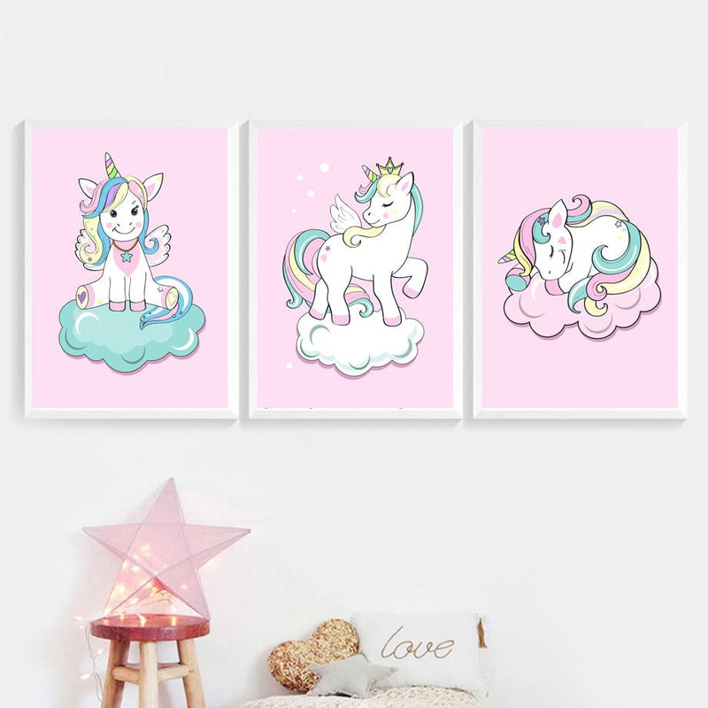 Cartoon Unicorn Cloud Crown Wall Art Canvas Painting Nordic Posters And Prints Wall Pictures For Kids Room Baby Girl Room Decor Tableau je-suis-une-licorne.com