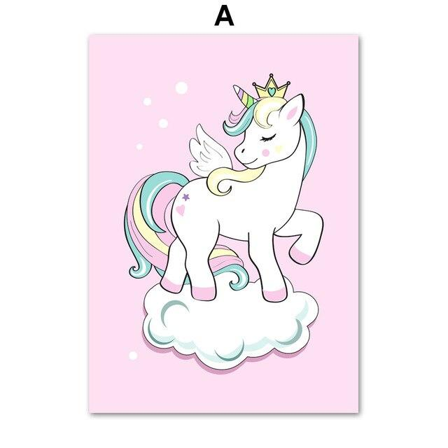 Cartoon Unicorn Cloud Crown Wall Art Canvas Painting Nordic Posters And Prints Wall Pictures For Kids Room Baby Girl Room Decor Tableau je-suis-une-licorne.com 60X100 cm No Framed A