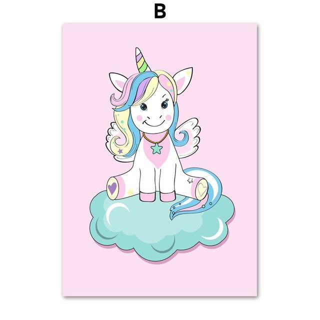 Cartoon Unicorn Cloud Crown Wall Art Canvas Painting Nordic Posters And Prints Wall Pictures For Kids Room Baby Girl Room Decor Tableau je-suis-une-licorne.com 60X80 cm No Framed B
