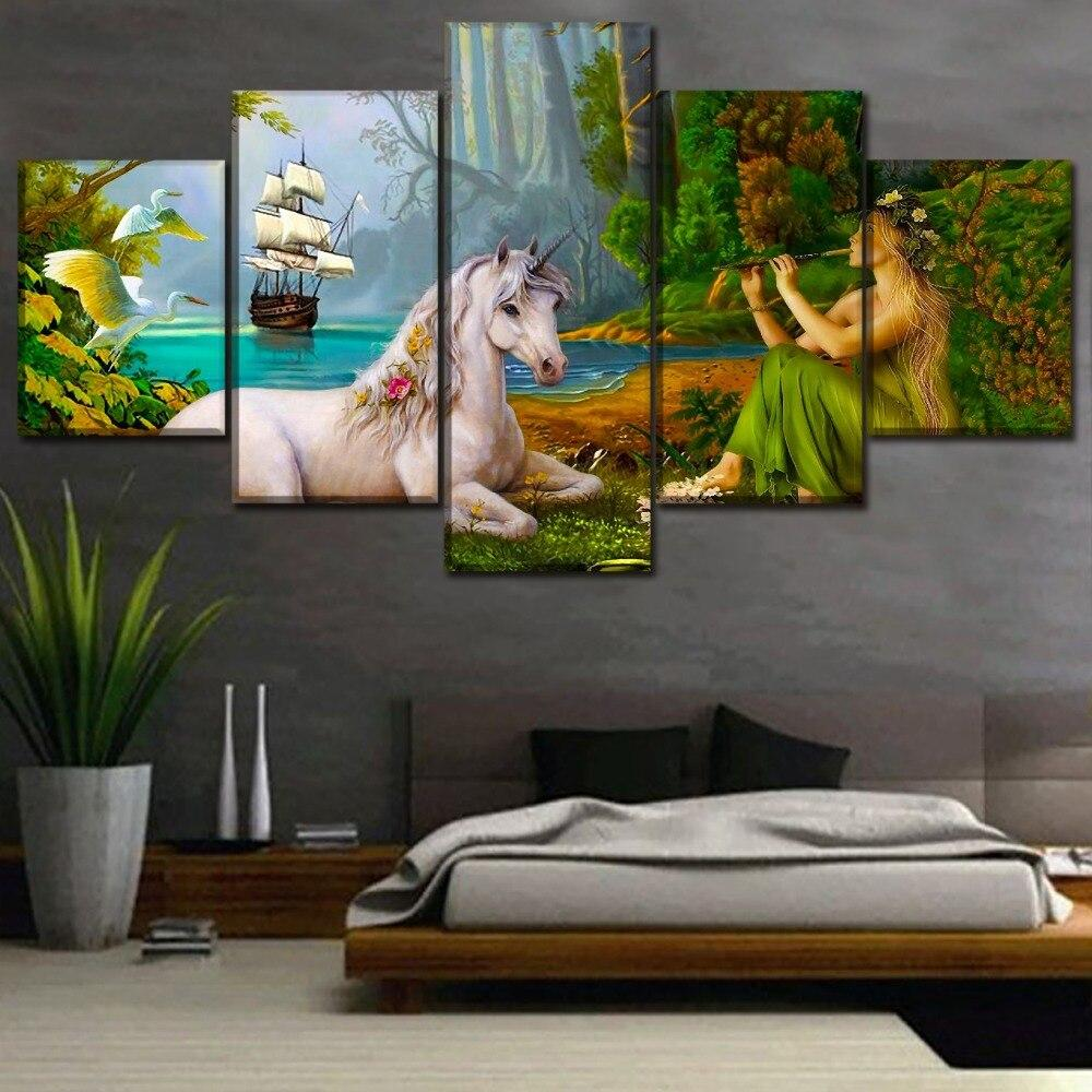 High Quality 5 Pcs Sailboat Unicorn And Woman Poster Modern Home Decoration Fantasy Forest Painting Canvas Printing Type Picture Tableau je-suis-une-licorne.com