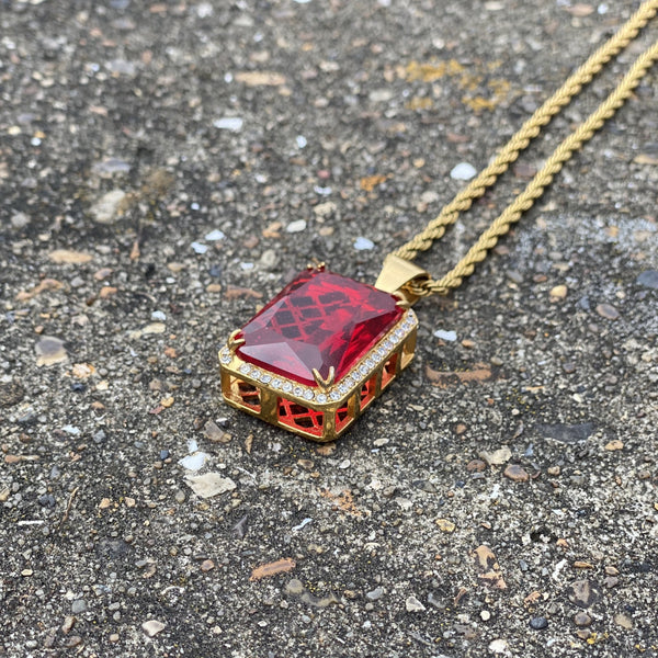Paved Red Stone Pendant Necklace
