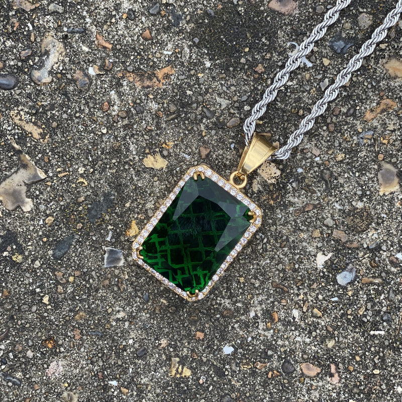 Paved Green Stone Pendant Necklace