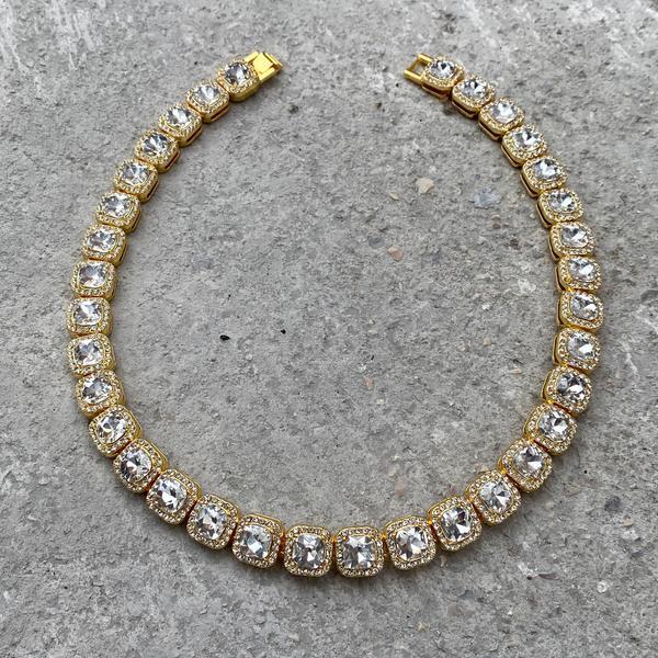 13mm Diamond Block Choker - Gold