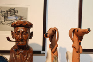 Wood Sculpture Man With Pipe