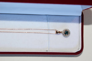 14 Karat Rose Gold Necklace with Diamond, Teal