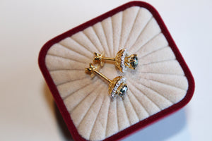 14 Karat Yellow Gold, Diamond Halo Earrings