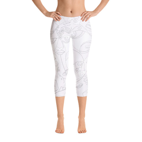 Capri Leggings - The Sun Design - Grey and White