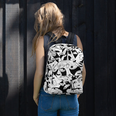 Black and White Backpack - Aztec Design