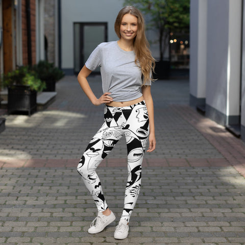 Leggings - The Sun Design - Black and White
