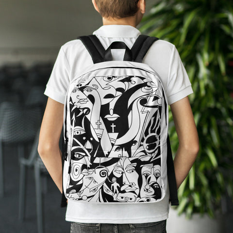 Black and White Backpack with The Infinity Design