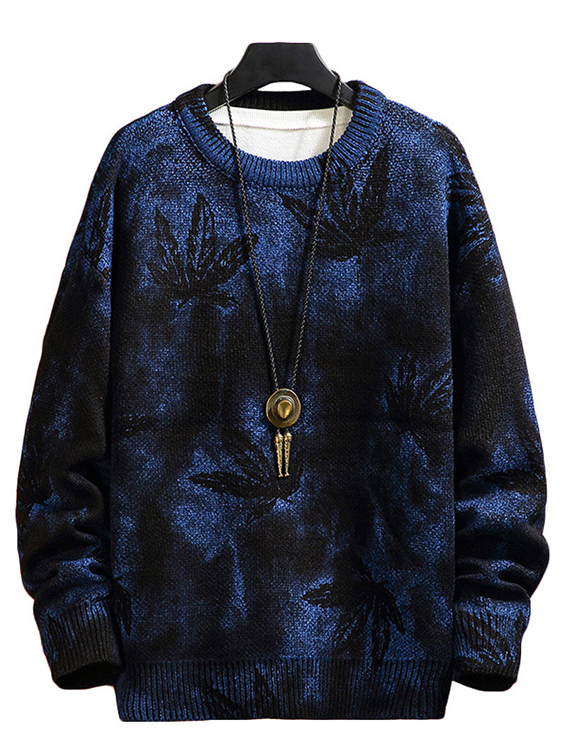Men's Leaf Tie Dye Print Round Collar Sweater