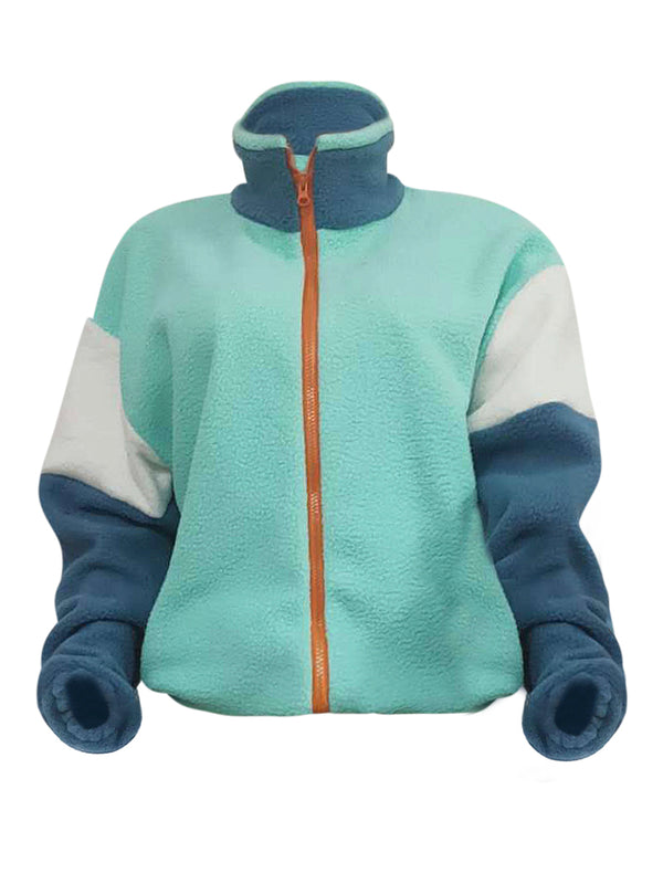 Color Block Zip Pocket Hem Drawstring Teddy Coat