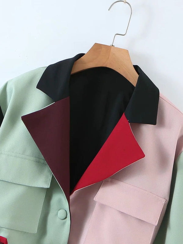 Color Block Lapel Flap Pocket Waist Blazer