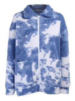 Tie Dye Lapel Zipped Pocket Teddy Coat