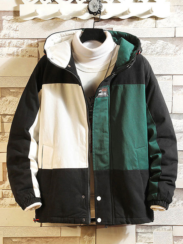Men's Color Block Pocket Zip Hooded Jacket